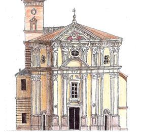 Schizzo della facciata del Santuario di Sommariva del Bosco