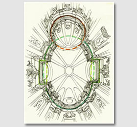 Schizzo della cupola del Santuario di Sommariva del Bosco