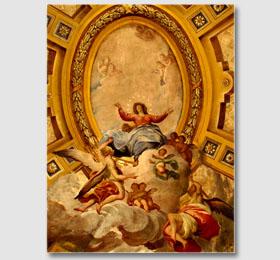 Decori a trompe l´oeil della cupola elicoidale rappresentanti l´Assunzione del Santuario di Sommariva del Bosco